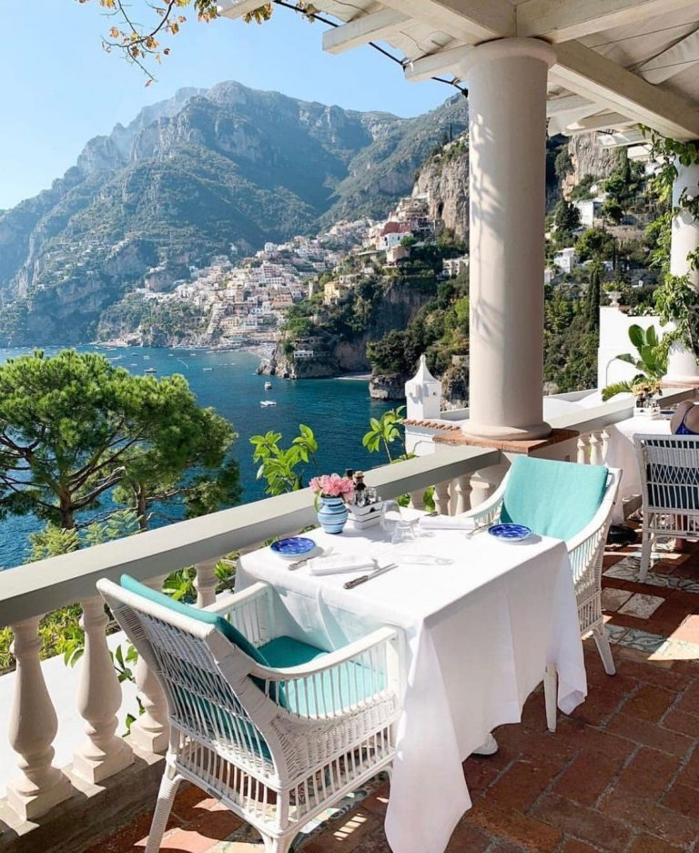 positano, mountain view from balcony